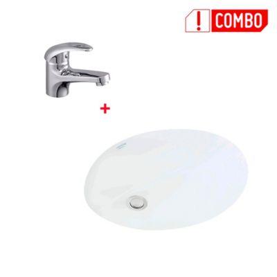 Combo Lavamanos Incrustar San Lorenzo Blanco + Grifería Lavamanos Monocontrol Bajo Almagro