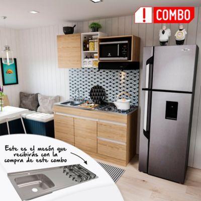 Cocina Integral Ribe 1.50 Metros Rovere + Mesón En Acero Inoxidable De Sobreponer 150X 50 Cm 4 Fogones A Gas Poceta Izquierda