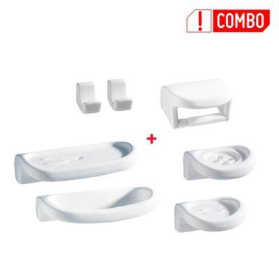 Combo de Accesorios de baño Línea Espacio Blanco: Papelera, Jabonera (2), Ganchos (2) , Cepillera, Toallero