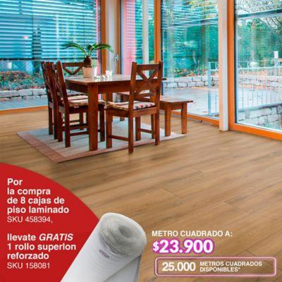 Por la compra de 8 cajas de piso laminado SKU 458394, llevate gratis 1 rollo superlon reforzado SKU 158081