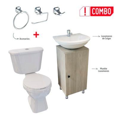 Combo De Baño Tao Single Sin Pedestal + Mueble A Piso Dena Ceniza + Lavamanos De Colgar + Grifería Sencilla + Accesorios Roma