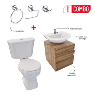 Combo De Baño Tao Single Sin Pedestal + Mueble A Piso Dena Duna + Lavamanos De Colgar + Grifería Sencilla + Accesorios Roma