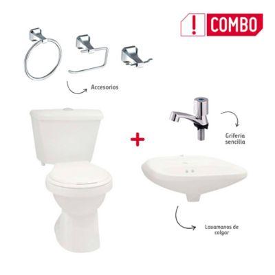 Combo De Baño Tao Single Sin Pedestal + Grifería Sencilla + Accesorios Roma