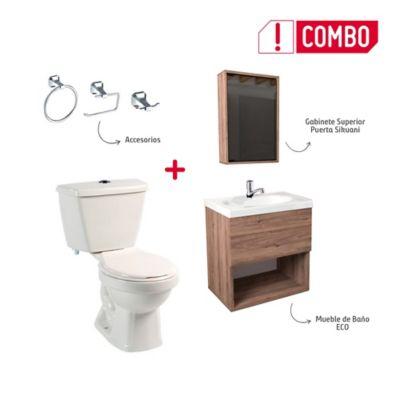 Combo De Baño Tao Single Sin Pedestal + Mueble Elevado Blanco + Grifería Sencilla + Gabinete Superior + Accesorios Roma