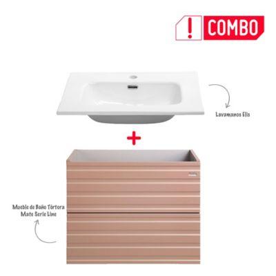 Combo Mueble de Baño Tortora Mate 60 cm +  Lavamanos Elis De Porcelana Blanco