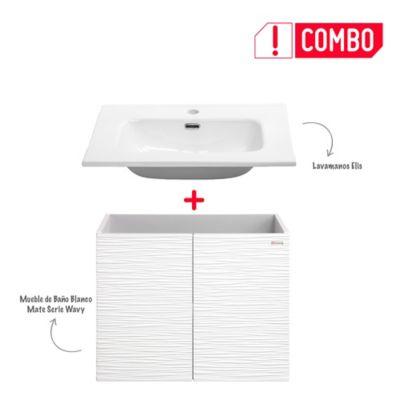 Combo Mueble de Baño Blanco Mate 60 cm + Lavamanos Elis De Porcelana Blanco