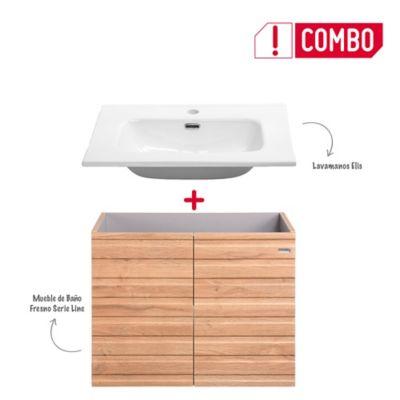 Combo Mueble de Baño Fresno 60 cm + Lavamanos Elis De Porcelana Blanco