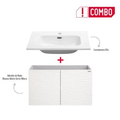 Combo Mueble de Baño Blanco Mate 80 cm + Lavamanos Elis De Porcelana