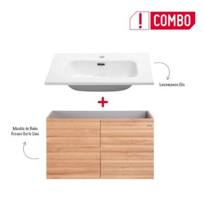Combo Mueble de Baño Fresno 80 cm + Lavamanos Elis De Porcelana