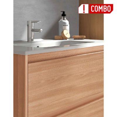 Combo Mueble de Baño Nogal Arenado 60 cm + Lavamanos Cerámico Blanco