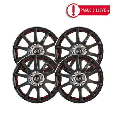 Combo Rin 13 Aluminio Crw 355 Negro Pague 3 Lleve 4