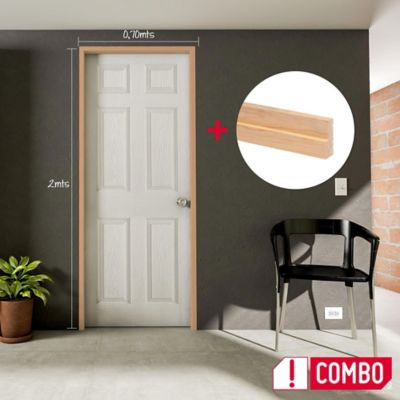 Puerta Prepintada 0.60x2 Mts. Sinfonía + Marco Pino 8x210x100x3 cm