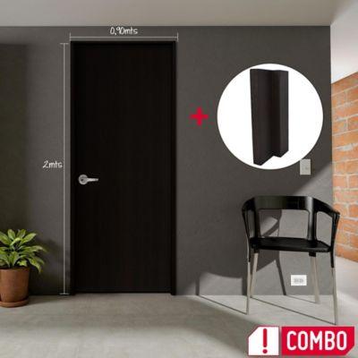 Puerta Wengue Clásico 60x200 cm + Marco Wengue Clásico 3x8x210 cm