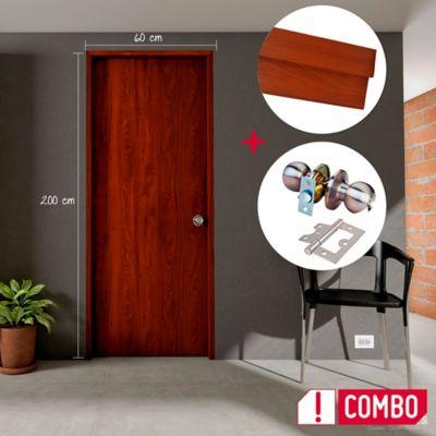 Combo Puerta Cedro Clásico 60X200cm + Marco Cedro Clásico 3X8X210cm + Cerradura Bola Satin + Bisagra