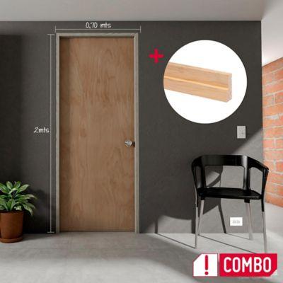 Puerta Triplex Okume 60x200 cm + Marco Pino 8x210x100x3 cm - Rc