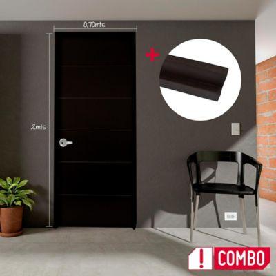Puerta Valerie 60x200 cm Chocolate + Marco Wengue Clásico 3x8x210 cm