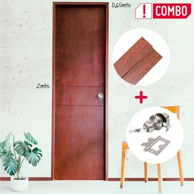 Puerta Ocaso 65x200 cm + Marco 8x210x100 cm + Chapa Pomo Alcoba + Bisagras 3 Und.