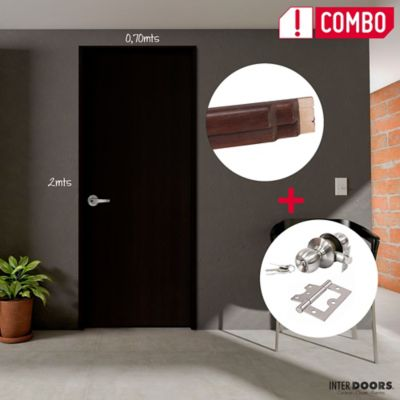 Puerta Wengue Clásico 60x200 cm + Marco 10x205x90x2.2 cm + Chapa Pomo Alcoba + Bisagra 3 Und.