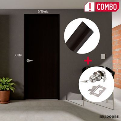 Puerta Wengue Clásico 60x200 cm + Marco Clásico 3x8x210 cm + Chapa Pomo Baño + Bisagra 3 Und.