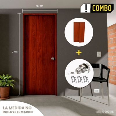Puerta Cedro Clásico 60x200 cm + Marco 10x205x90x2.2 cm Cedro + Chapa Pomo Alcoba + Bisagra 3 Und.