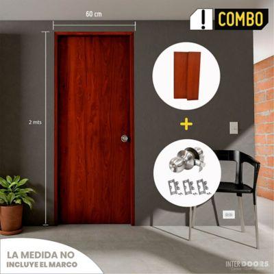 Puerta Cedro Clásico 60x200 cm + Marco Clásico 3x8x210 cm Cedro + Chapa Pomo Baño + Bisagra 3 Und.
