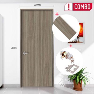 Puerta Kogui 65x200 cm + Chapa Pomo Alcoba + Bisagra 3 Und. + Marco