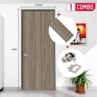 Puerta Kogui 65x200 cm + Chapa Pomo Baño + Bisagra 3 Und. + Marco