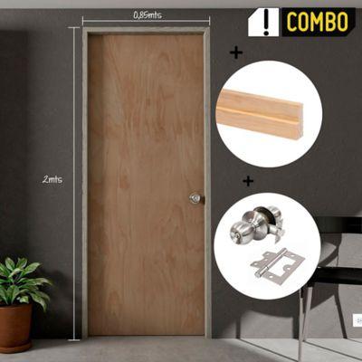 Puerta Triplex Okume 60x200 cm + Marco Pino 8x210x100x3 cm - Rc + Chapa Pomo Alcoba + Bisagra 3 Pulg. x 3 Und