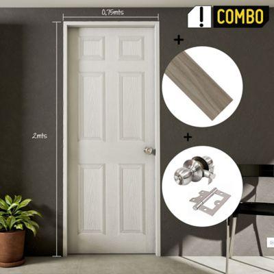 Puerta Prepintada 0.60x2 Mts. Sinfonía + Marco Pino 8x210x100x3 cm + Chapa Pomo Alcoba + Bisagra 3 Pulg. x 3 Und