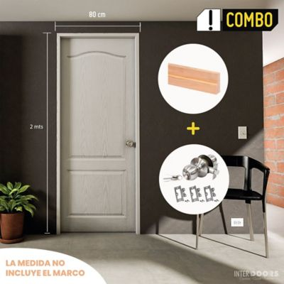 Puerta Prepintada 0.60x2 Mts. Prestige + Marco Pino 8x210x100x3 cm + Chapa Pomo Alcoba + Bisagra 3 Pulg. x 3 Und
