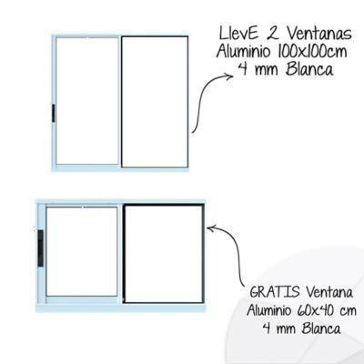 Lleva 2 Ventanas Aluminio 100x100 cm 4 mm Blanca, GRATIS Ventana Aluminio 60x40 cm 4 mm Blanca