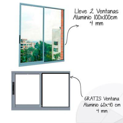 Lleva 2 Ventanas Aluminio 100x100 cm Bas 4mm, GRATIS Ventana Aluminio 60x40 cm Bas 4mm