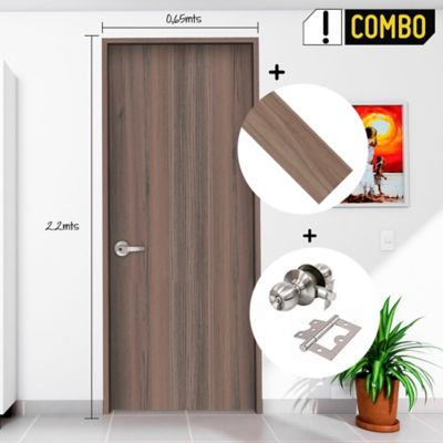 Puerta Cienaga 65x220 cm + Marco Puerta AGL 3x8x240 cm Cienaga + Chapa Pomo Baño Acero + Bisagra Omega Puerta 3 Pulg x 3 Und.