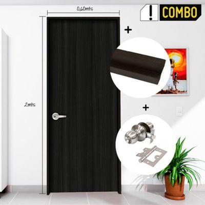 Puerta Turquia 0.65x2 Mts. + Marco Agl 3x8x2.10 cm Coggie + Chapa Pomo Baño Acero + Bisagra Omega Puerta 3 Pulg x 3 Und.