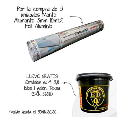 Por la compra de3und Manto Asfáltico Impermeabilizante Alumanto 3mm x 10mt2 Foil Aluminio Texsa Lleve Gratis 1 Galón de Emulsión Asfáltica ED-9 SKU 86511