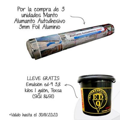 Por la compra de3und Manto Asfáltico Impermeabilizante Alumanto Autoadhesivo 3mm x 10m2 Foil Aluminio Texsa Lleve Gratis 1 Galón de Emulsión Asfáltica ED-9 SKU 86511
