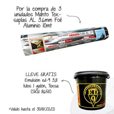 Por la compra de3und Manto Asfáltico Impermeabilizante Texsaplas AL 3.6mm x 10mt2 Foil Aluminio Texsa Lleve Gratis 1 Galón de Emulsión Asfáltica ED-9 SKU 86511