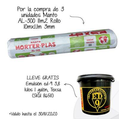 Por la compra de3und Manto Asfáltico Impermeabilizante Morterplas AL-300 3mm x 11mt2 Texsa Lleve Gratis 1 Galón de Emulsión Asfáltica ED-9 SKU 86511