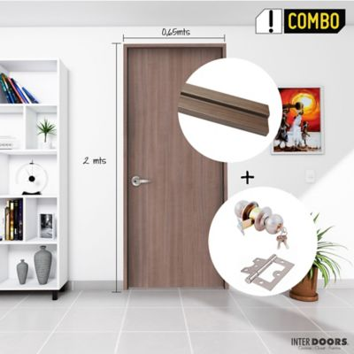 Puerta Barichara 65x200 cm + Chapa Pomo Alcoba Acero + Bisagra Omega Puerta 3 Pulg x 3 Und.