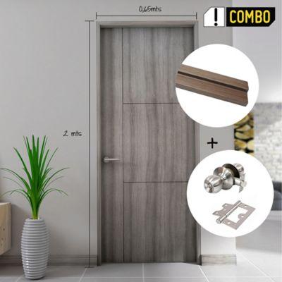 Puerta Olivo 60x200 cm + Chapa Pomo Baño Acero + Bisagra Omega Puerta 3 Pulg x 3 Und.