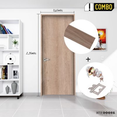 Puerta Jerico 65x235 cm + Chapa Pomo Alcoba Acero + Bisagra Omega Puerta 3 Pulg x 3 Und.