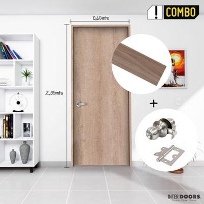 Puerta Jerico 65x235 cm + Chapa Pomo Baño Acero + Bisagra Omega Puerta 3 Pulg x 3 Und.