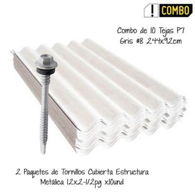 Combo de 10 Tejas P7 Gris #8 244x92cm AU:2.01m2 + 2 Paquetes de Tornillos Cubierta Estructura Metálica 12x2-1/2pg x10und - Combo AU: 20mt2 aprox.