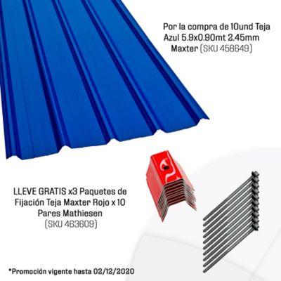 Por la compra de 10und Teja Azul 5.9x0.90mt 2.45mm Maxter (SKU 458649) LLEVE GRATIS x3 Paquetes de Fijación Teja Maxter Rojo x 10 Pares Mathiesen (SKU 463609)