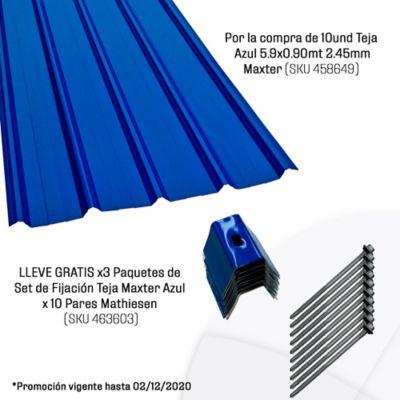 Por la compra de 10und Teja Azul 5.9x0.90mt 2.45mm Maxter (SKU 458649) LLEVE GRATIS x3 Paquetes de Set de Fijación Teja Maxter Azul x 10 Pares Mathiesen (SKU 463603)