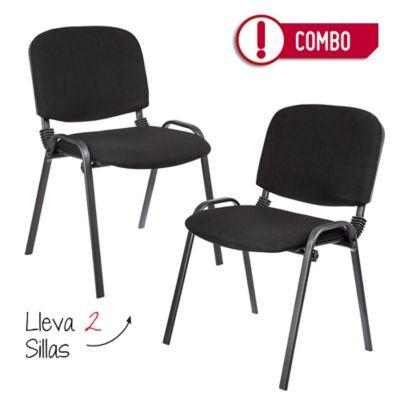Combo 2 sillas interlocutoras isóceles negras