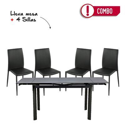 Comedor Mesa Extensible Vidrio Negro + 4 Sillas Comedor Suiza Negras
