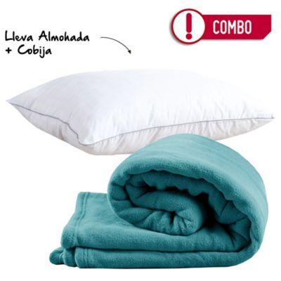 Combo Almohada 50 x 70 Spa Carbono Firme + Cobija Flannel 100x150 cm Turquesa