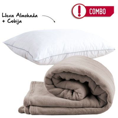 Combo Almohada 50 x 70 Spa Carbono Firme + Cobija Flannel 100x150 cm Camel