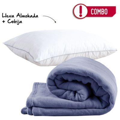 Combo Almohada 50 x 70 Spa Carbono Firme + Cobija Flannel 100x150 cm Azul
